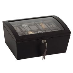 Mele & Co. Royce Locking Glass Top Wooden Watch Box - Java - 8.75W x 5.625H in. - 00688S12