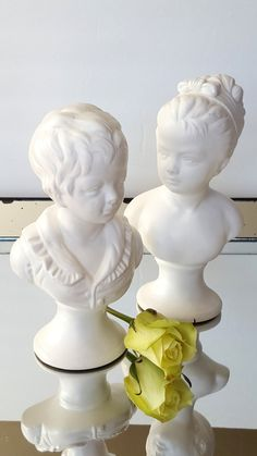 Vintage Boy Girl Busts Figurine Cream Off White Figurines Neo Classical Decor Mid Century by Pesserae on Etsy