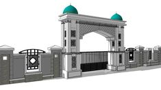Gate Wall Design, Front Wall Design, Main Gate Design, Entrance Design, Arch Gate, Entrance Gates, Main Entrance, Mosque Architecture, Modern Villa Design