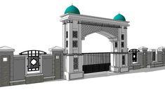 100% Indonesia Gate Wall Design, Front Wall Design, Main Gate Design, Entrance Design, Arch Gate, Entrance Gates, Main Entrance, Mosque Architecture, Modern Villa Design