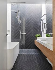 100 Beautiful Bathrooms to Help You Achieve Spa Status : Modern Bathroom Slate Herringbone Tile Bathroom Renos, Laundry In Bathroom, Bathroom Towels, Bathroom Renovations, Bathroom Wall, Bathroom Grey, Bathroom Makeovers, Remodel Bathroom, Shower Bathroom