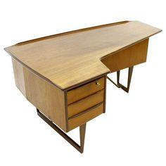 Asymmetric Boomerang Teak Desk By Peter Løvig Nielsen, ca1958