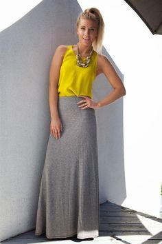 How to wear one outfit 3 ways! Chartreuse silk tank Club Monaco / Grey Maxi skirt BCBGeneration / Sam Edelman sandals