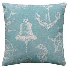 Aqua Nautical and Sealife Linen Pillow