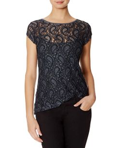 Sheer Lace Layering Top | Paisley Pattern Top | THE LIMITED