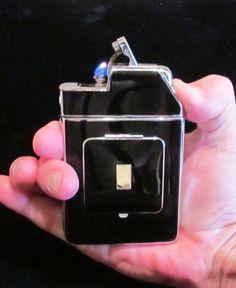 Vintage Cigarette Case Marathon Case Lighter Powder Compact Case WORKING LIGHTER