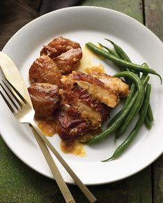 Apple-Braised Turkey Thighs | Martha Stewart Living - This dish is quick to prepare and tastes even better the next day; let it cool completely in the pan sauce, then reheat gently in a covered pot.