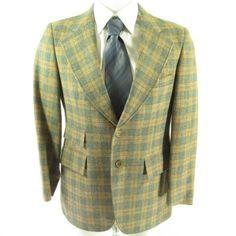 fca02e10688 Vintage 70s Plaid Sport Coat Jacket 40 R Wool Wide lapel Blazer