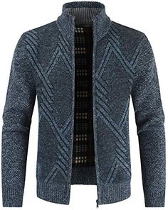 Best Seller Fashion Warm Knitwear Slim Fit Mens Knitted Cardigan Jacket Stylish Stand Collar Full Front Zipper Sweater Jacket Thick Warm Long sleeve Jumper Fleece Lined Winter Coat Color : C , Size : online - Onlineshoppingoffers Jumper, Sweater Jacket, Long Sleeve Sweater, Men Sweater, Jacket Men, Sweater Coats, Winter Sweaters, Men Pants, Wool Sweaters