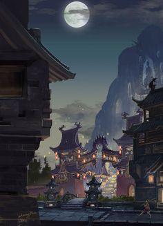 Asian fantasy art, digital illustrations and character studies Fantasy City, Fantasy Places, Fantasy Kunst, Fantasy World, Fantasy Art Landscapes, Fantasy Landscape, Landscape Art, Fantasy Concept Art, Fantasy Artwork