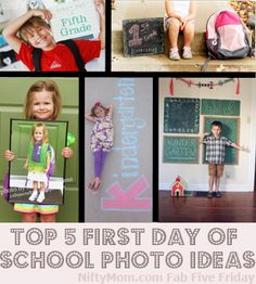 5 First Day of School Photo Ideas (includes printables)  I like the shot sitting on the front step to show off the new backpack too.  :)