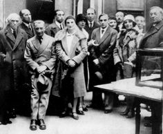 Cercle et Carré group, Paris 1930. From left: Joaquin Torres-Garcia, Piet Mondrian, Jean Arp, Pierre Daura, Marcelle Cahn, Sophie Tauber-Arp, Michel Seuphor; and far right Wassily Kandinsky.