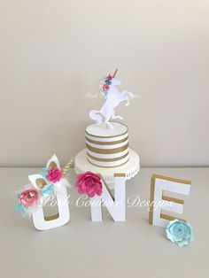 Unicorn Party Decorations/ Unicorn Letters/ Unicorn First Birthday/ Unicorn Cake Topper/ Cake Smash/ Unicorn Photo Props/ ONE Letters/ by PoshCoutureDesigns on Etsy https://www.etsy.com/listing/511188097/unicorn-party-decorations-unicorn