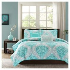 Chelsea Quilted Coverlet Set (Twin/Twin Extra Long) 4pc - Aqua (Blue)
