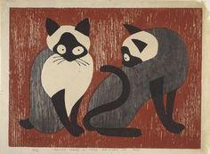 Saito Kiyoshi - Two Cats, 1955 -   color woodblock print - Indianapolis Museum of Art