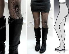 Small/Medium Dark Grey sexy  Mini  and  Boots Peacock Feather Tattoo tights / stockings /  full length  / pantyhose / nylons Dark GREY. $25,00, via Etsy.