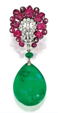 Platinum Carved Ruby and Diamond Brooch Cartier London With an Emerald Pendant