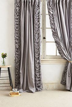 These romantic curtains are gorgeous. Silver Curtains, Grey Curtains, Anthropologie Curtains, Master Bedroom, Bedroom Decor, Home Curtains, Stage Curtains, Bedroom Accessories, New Homes