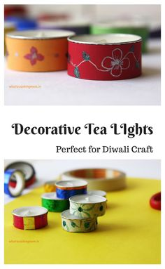 Decorative Tealight Candles - Diwali craft, Diwali school project - whats cooking mom Diwali Craft, Diwali Rangoli, Tea Light Candles, Tea Lights, Easy Healthy Recipes, Vegetarian Recipes, What To Cook, School Projects, Lunch Box