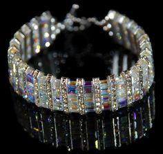 Swarovski crystal bracelet by abigail Swarovski Crystal Necklace, Swarovski Jewelry, Crystal Bracelets, Crystal Jewelry, Wire Jewelry, Beaded Jewelry, Jewelery, Jewelry Bracelets, Swarovski Crystals
