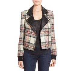 Paige Denim 'Farrah' Bomber Jacket ($698) ❤ liked on Polyvore featuring outerwear, jackets, asymmetrical jacket, real leather jacket, bomber jacket, paige denim jacket and tartan jacket
