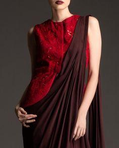 Different take on saree blouse - saree drape