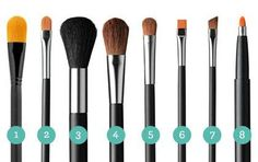 Here are the eight basic brushes you need:  1. Foundation brush  2. Concealer brush   3. Fluffy powder brush  4. Blush brush   5. Small blending brush   6. Flat eyeshadow brush   7. Precision angle brush   8. Lip brush