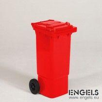 2-wiel container, 445x530x940 mm 80 ltr, met deksel, rood