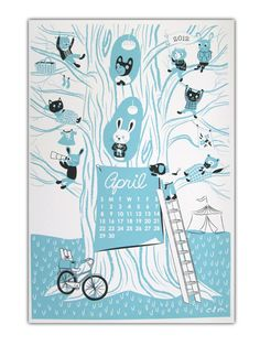 Let's celebrate April! Here's this month's calendar print designed by Claire Milne and screenprinted by the Kid Icarus Print Department for our 2012 Calendar.
