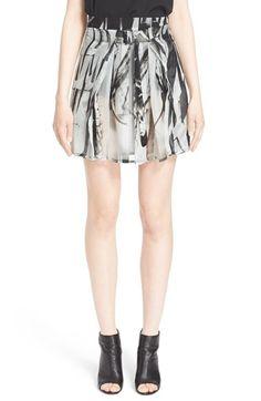 ANN DEMEULEMEESTER Graphic Print Belted Silk Skirt. #anndemeulemeester #cloth #