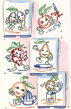 Vintage Hand Embroidery PDF File McCall 1419 Animated Fruit for Kitchen Dish Towels 1960s Instant Download