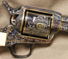 The Colt logo on the action of the Anniversary Single Action Army revolver: Weapons Guns, Airsoft Guns, Guns And Ammo, Colt Single Action Army, Single Action Revolvers, Rifles, Cowboy Action Shooting, Revolver Pistol, Gun Art