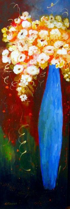 """""""From the Garden"""" by Halina Plewak. Acrylic painting on Canvas, Subject: Flowers and plants, Impressionistic style, One of a kind artwork, Signed on the front, This artwork is sold unframed, Size: 30.48 x 91.44 x 3.81 cm (unframed), 12 x 36 x 1.5 in (unframed), Materials: acrylic.varnish"""
