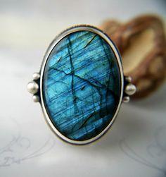 Light in a Dark Pool - Labradorite Sterling Silver Ring by MercuryOrchid