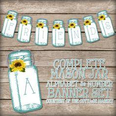 The Cottage Market: Free Printable Complete Mason Jar Alphabet & Number Banner/Bunting Set