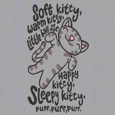 Soft kitty warm kitty little ball of fur, sleepy kitty happy kitty pur purr purer.... big bang theory