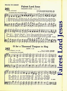 """Fairest Lord Jesus"" ~ Words written 17th Century; Music Arranged by Richard S Willis 19th Century"