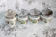 Set of 4 Egg Coddler 'Lavina' Bramble Design by Royal Worcester of England. Traditional English Home. by AtticBazaar on Etsy