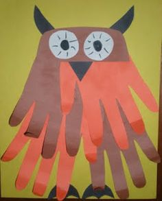 Preschool Crafts for Kids*: Halloween Handprint Owl Craft