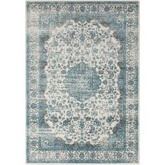 Found it at Wayfair - Ballycastle Gray & Teal Area Rug