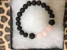 Rose Quartz and Lava Rock Diffuser Bracelet for by JewelrybyJAM
