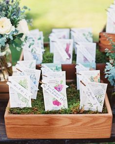 Avid gardeners, the couple added calligraphed tags to seed packets, which doubled as escort cards and favors.