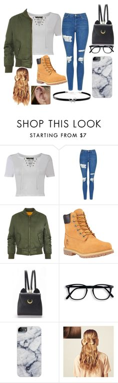 """Day out"" by lexguz ❤ liked on Polyvore featuring Pilot, Topshop, WearAll, Timberland, WithChic, Hershesons and Giani Bernini"