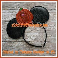Headband PUMPKIN ITH Mr Miss Mouse Ears Inspired  by astitchforyou