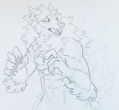 """I needed an excuse to draw this stupid quirk Reylai does sometimes. She forgets what she's doing with her arms sometimes so she holds them uselessly for a bit in this dumb ""this monster COULD be threatening, but not now"" way"" Animal Sketches, Animal Drawings, Art Sketches, Art Drawings, Furry Wolf, Furry Art, Art Reference Poses, Drawing Reference, Werewolf Art"