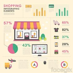 Colorful shopping elements maps vector