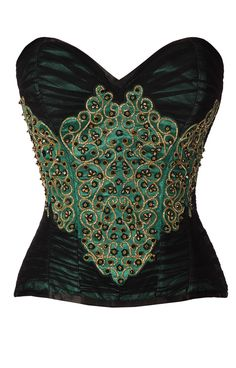 Green-Satin-and-Black-Soft-Net-Overbust-Steel-Boned-Couture-Corset