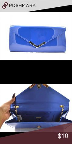Aldo Blue Patent Clutch Royal blue patent leather clutch with silver trim and chain. Perfect match with the blue Topshop crocodile patent pumps. Worn once. Aldo Bags Clutches & Wristlets