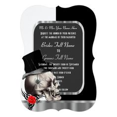 Classy black and white gothic skull wedding card