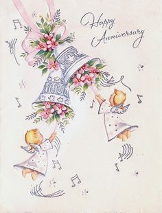 Angel Anniversary Bells Marriage Anniversary Cards, Anniversary Wishes For Parents, Happy Wedding Anniversary Wishes, Anniversary Greetings, Vintage Birthday Cards, Vintage Greeting Cards, Happy Aniversary Wishes, Wedding Bells Clip Art, Illustrations